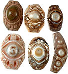 Lot of Six Drilled Carved Onyx Evil Eye