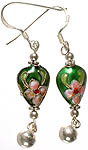 Enamelled Floral Earrings with Charm