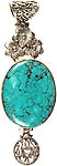 Spider's Web Turquoise Pendant with Blooming Flowers