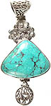 Spider's Web Turquoise Triangular Pendant with Blooming Flowers
