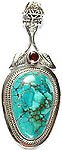 Turquoise Pendant with Garnet