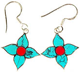 Sterling Inlay Flower Earrings