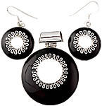 Black Onyx Pendant with Matching Earrings Set