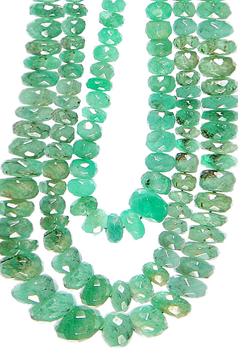 Faceted Emerald Three Strands Necklace