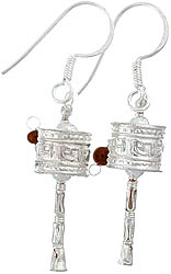 Om Mani Padme Hum Prayer Wheel Earrings