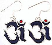 OM (AUM) Inlay Earrings