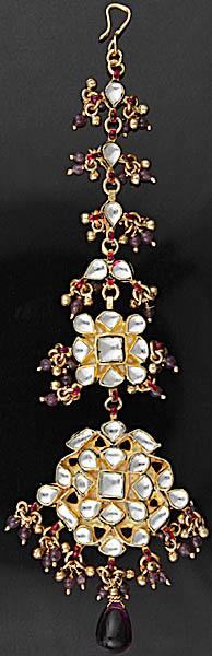 Bridal Kundan Tika with Cut Glass Beads (Forehead Ornament)