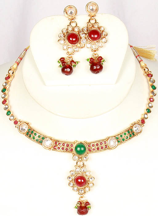 Polki Necklace and Earrings Set with Faux Ruby and Emeralds