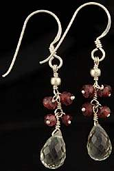 Faceted Garnet and Green Amethyst Earrings