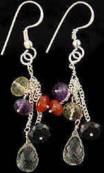 Faceted Gemstone Shower Earrings (Amethyst, Carnelian, Lemon Topaz, Black Spinel and Green Amethyst)