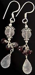 Faceted Crystal Earrings with Garnet