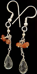 Faceted Green Amethyst and Carnelian Earrings