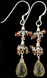 Faceted Citrine and Green Amethyst Earrings