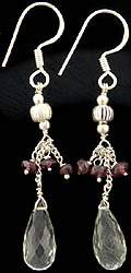 Faceted Green Amethyst and Garnet Earrings