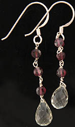Faceted Green Amethyst Earrings with Garnet