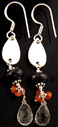 Faceted Gemstone Earrings (Green Amethyst, Black Spinel and Carnelian)