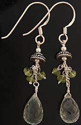 Faceted Green Amethyst and Peridot Earrings