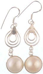 Dangling Pearl Spiral Earrings