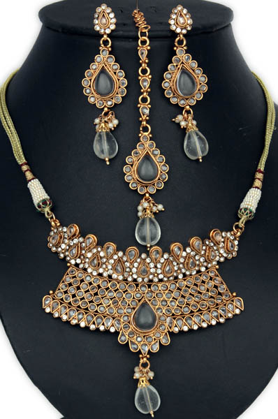 Golden Cut Glass Royal Necklace with Earrings and Forehead Tikka