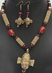 Lord Ganesha Tribal Necklace and Earrings Set with Faux Coral, Pearl and Black Stone