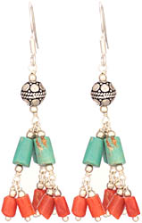 Coral and Turquoise Earrings
