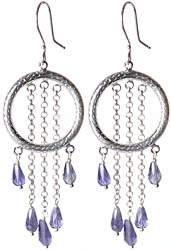 Faceted Iolite Hoop Earrings