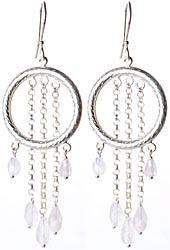 Moonstone Hoop Cascade Earrings