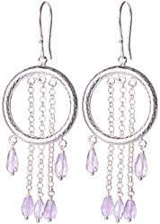 Faceted Amethyst Hoop Earrings
