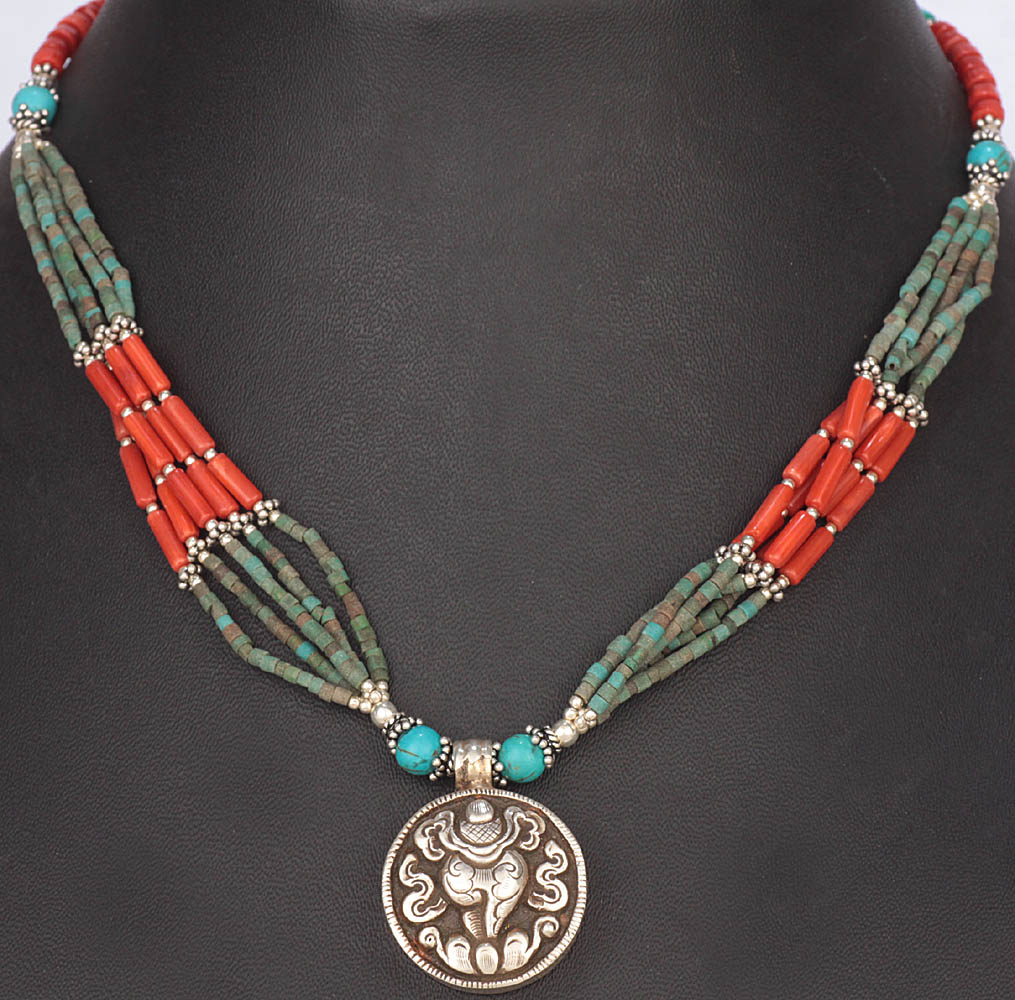 conch ashtamangala turquoise and coral necklace