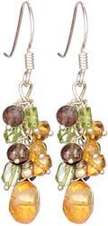 Triple Gemstone Bunch Earrings (Smoky Quartz, Peridot and Citrine)