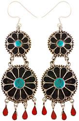Sterling Inlay Flower Earrings