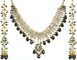 Jet Black Kundan Beaded Necklace Set with Earrings
