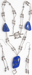 Faceted Lapis lazuli Necklace with Sterling Earrings Set