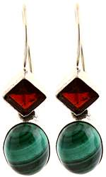 Earrings with Garnet and Malachite