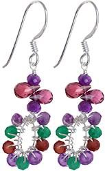 Faceted Triple Gemstone Earrings (Amethyst, Garnet and Green Onyx)