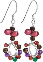 Faceted Gemstone Earrings (Smoky Quartz, Garnet, Amethyst and Green Onyx)