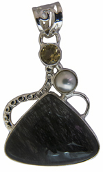 Tourmalinated Quartz Pendant with Pearl and Citrine