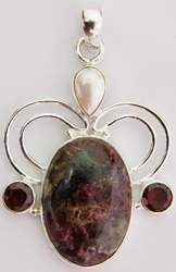 Agate Pendant with Garnet and Pearl