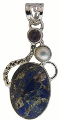 Lapis Lazuli Pendant with Amethyst and Pearl
