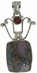 Conglomerate Agate Pendant with Garnet