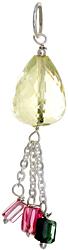Faceted Lemon Topaz Pendant with Tourmaline