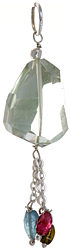 Faceted Green Amethyst Pendant with Tourmaline