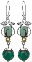 Turquoise and Green Onyx Earrings