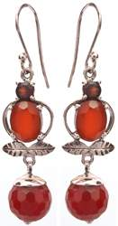 Faceted Carnelian Earrings with Garnet and Sterling Leaves