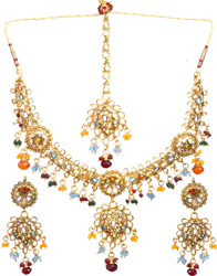 Floral Polki Necklace Set with Tika