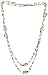 Faceted Green Chalcedony and Prehnite Long Necklace