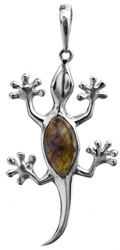 Sterling Lizard Pendant with Gems