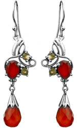 Faceted Carnelian Earrings with Peridot