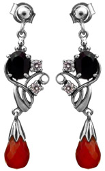 Faceted Black Spinel Earrings with Carnelian