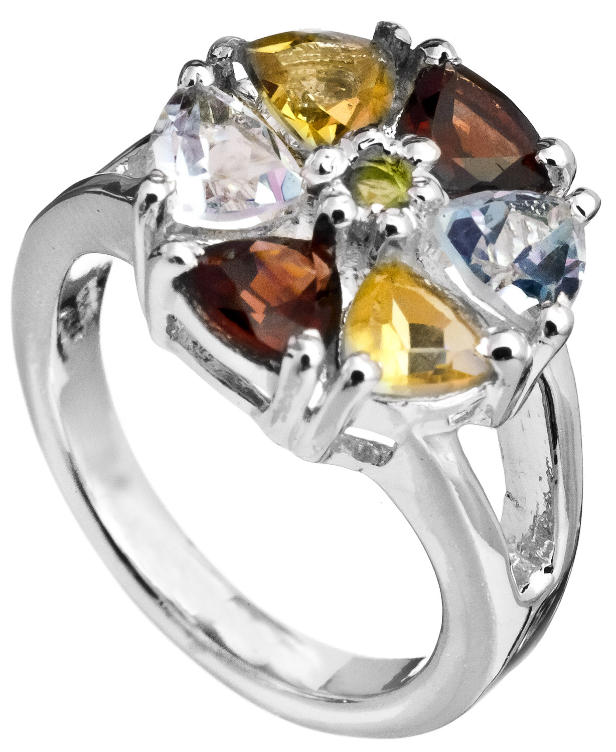 faceted gemstone ring citrine bt garnet and peridot